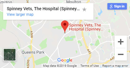 map for Spinney Lodge veterinary hospital