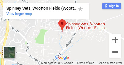 map for Wotton Fields veterinary surgery